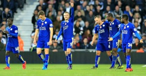 Leicester City's Jamie Vardy (centre) celebrates scoring his side's third goal of the game during the Barclays Premier League match at The Hawthorns, West Bromwich. PRESS ASSOCIATION Photo. Picture date: Saturday October 31, 2015.